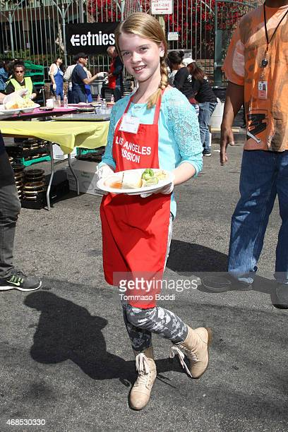 Actress Delaney Raye attends the Los Angeles Mission Easter Event held at the Los Angeles Mission on April 3, 2015 in Los Angeles, California.