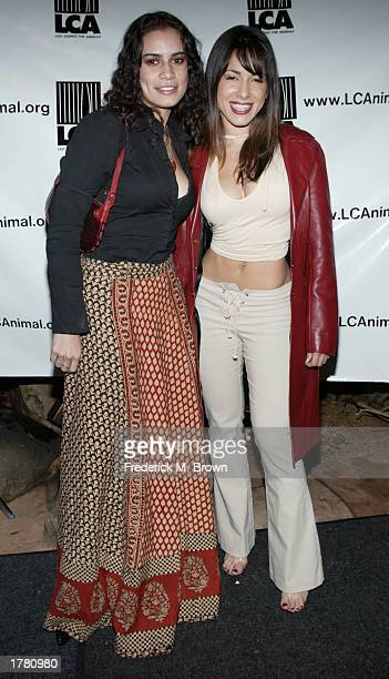 Actress Delilah Cotto and her sister Cristina attend the Last Chance For Animals fundraiser party on February 12 2003 in Los Angeles California The...