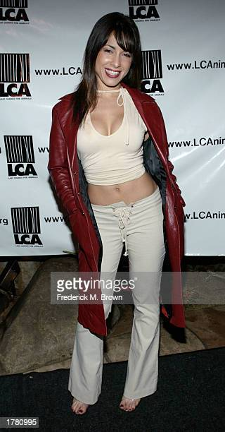 Actress Delilah Cotto attends the Last Chance For Animals fundraiser party on February 12 2003 in Los Angeles California The event benefits National...