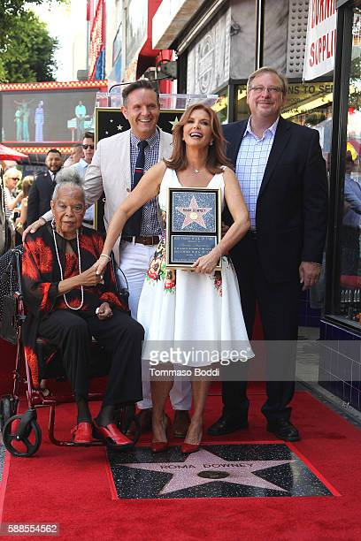 Actress Della Reese, actress/producer Roma Downey, producer Mark Burnett and pastor Rick Warren attend a ceremony honoring actress/producer Roma...