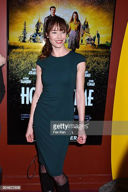 Actress Delphine Rollin attend sthe 'House of Time' Paris Premiere at cinema Pathe Wepler on January 11 2016 in Paris France