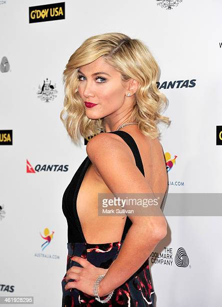 Actress Delta Goodrem attends the 2014 G'Day USA Los Angeles Black Tie Gala at JW Marriott Los Angeles at LA LIVE on January 11 2014 in Los Angeles...