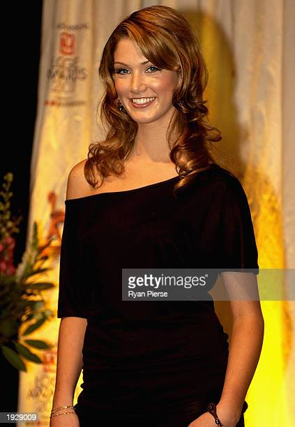 Actress Delta Goodrem attends the Australian TV Week Logie Awards Media Call for Nominees at the Melbourne Crowne Casino April 14 2003 in Melbourne...