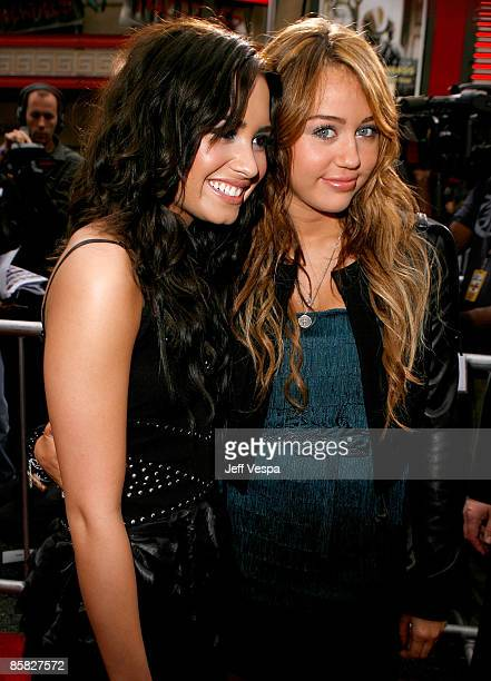Actress Demi Lovato and actress/singer Miley Cyrus arrive at the premiere of Walt Disney Picture's Hannah Montana The Movie held at the El Captian...