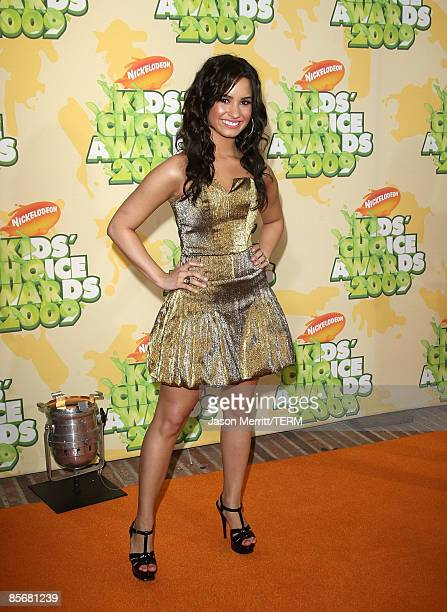 Actress Demi Lovato arrives at Nickelodeon's 2009 Kids' Choice Awards at UCLA's Pauley Pavilion on March 28 2009 in Westwood California