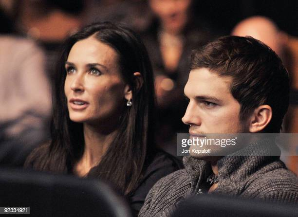 Actress Demi Moore and actor Ashton Kutcher attend the UFC 104 Machida vs Shogun at Staples Center on October 24 2009 in Los Angeles California