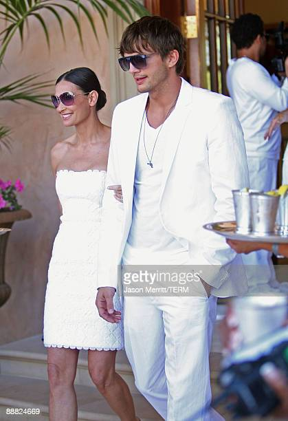 Actress Demi Moore and actor Ashton Kutcher attend the White Party hosted by Sean Diddy Combs and Ashton Kutcher to help raise awareness for Malaria...
