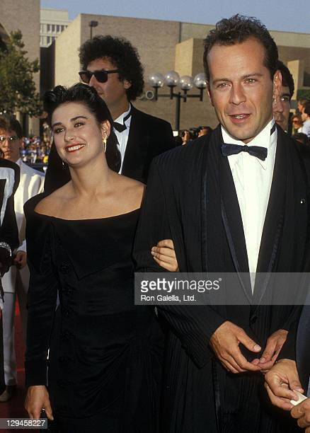 Actress Demi Moore and actor Bruce Willis attend the 39th Annual Primetime Emmy Awards on September 20 1987 at the Pasadena Civic Auditorium in...
