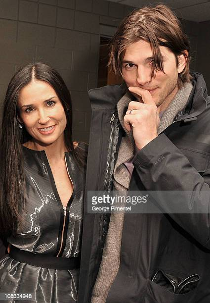 Actress Demi Moore and Ashton Kutcher attend 'Margin Call' Premiere at the Eccles Center Theatre during the 2011 Sundance Film Festival on January 25...