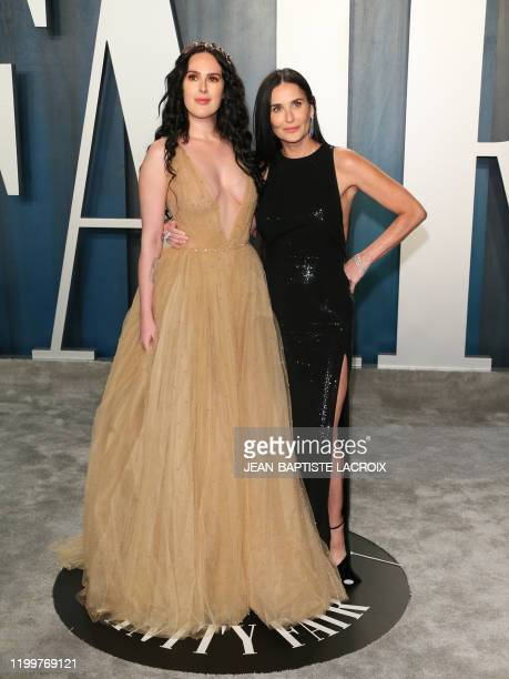 Actress Demi Moore and daughter actress Rumer Willis attend the 2020 Vanity Fair Oscar Party following the 92nd Oscars at The Wallis Annenberg Center...