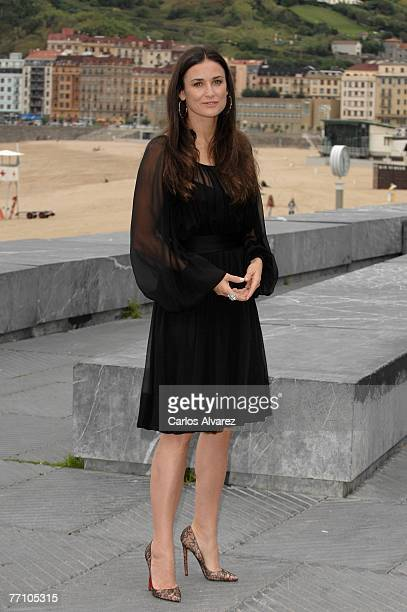 """Actress Demi Moore attends a photocall for """"Flawless"""" during the last day of the 55th San Sebastian International Film Festival at Kursaal Palace on..."""
