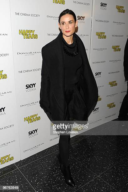 Actress Demi Moore attends a screening of Happy Tears hosted by the Cinema Society and Donna Karan at The Museum of Modern Art on February 16 2010 in...