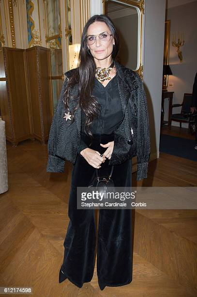 Actress Demi Moore attends the Alber Elbaz Ceremony Decoration at Ministere de la culture Paris Fashion Week Womenswear Spring/Summer 2017 on October...