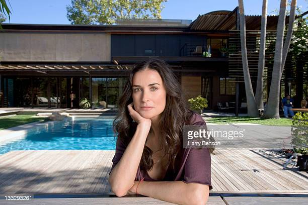Actress Demi Moore is photographed at home for Architectural Digest on October 19 2006 in Beverly Hills California