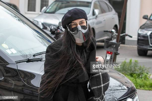 Actress Demi Moore is seen on January 26, 2021 in Paris, France.