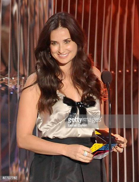 Actress Demi Moore on stage at the 2008 MTV Video Music Awards at Paramount Pictures Studios on September 7 2008 in Los Angeles California