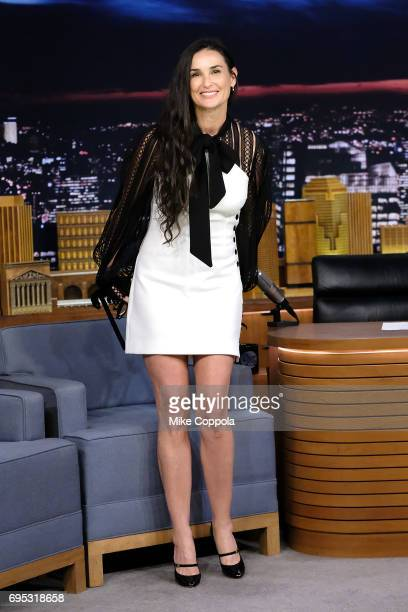 Actress Demi Moore visits The Tonight Show Starring Jimmy Fallon at Rockefeller Center on June 12 2017 in New York City