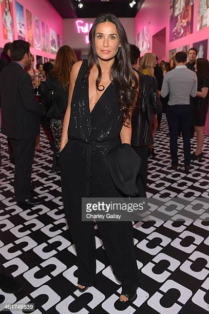 Actress Demi Moore wearing Diane Von Furstenberg attends Diane Von Furstenberg's Journey of A Dress Exhibition Opening Celebration at May Company...