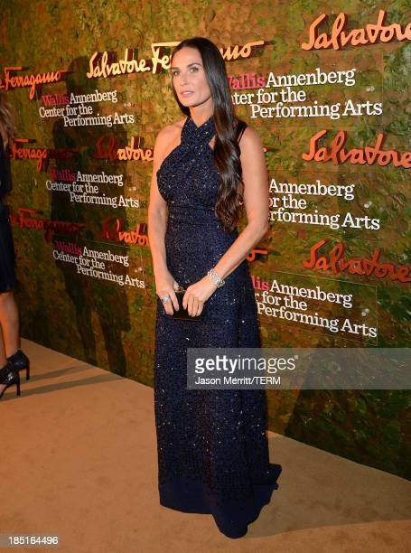 Actress Demi Moore wearing Ferragamo arrives at the Wallis Annenberg Center for the Performing Arts Inaugural Gala presented by Salvatore Ferragamo...