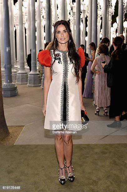 Actress Demi Moore wearing Gucci attends the 2016 LACMA Art Film Gala Honoring Robert Irwin and Kathryn Bigelow Presented By Gucci at LACMA on...