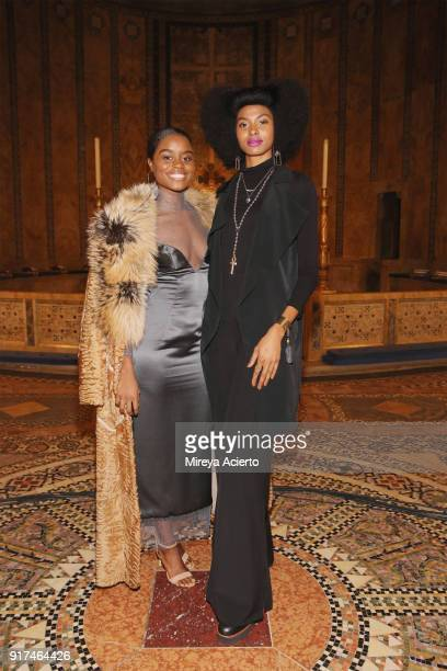 Actress Denee Benton and Tierra Benton attend the Dennis Basso fashion show at St Bartholomew's Church on February 12 2018 in New York City