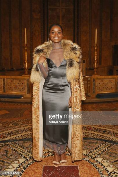 Actress Denee Benton attends the Dennis Basso fashion show at St Bartholomew's Church on February 12 2018 in New York City