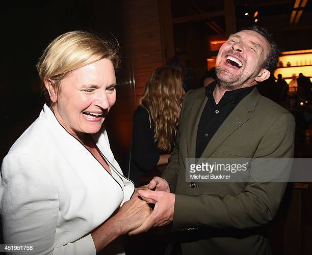 Actress Denise Crosby and actor Eddie Marsan attend the premiere of Season 2 of Showtime's Ray Donovan presented by Time Warner Cable at Nobu Malibu...