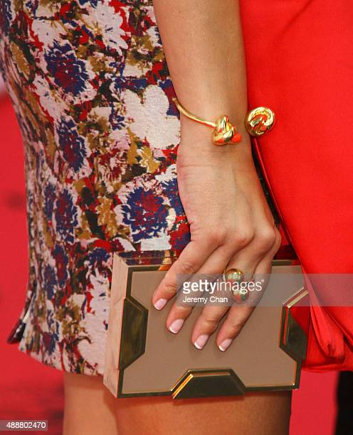 """Actress Devika Bhise, jewelry and handbag details, attends """"The Man Who Knew Infinity"""" premiere during the 2015 Toronto International Film Festival..."""