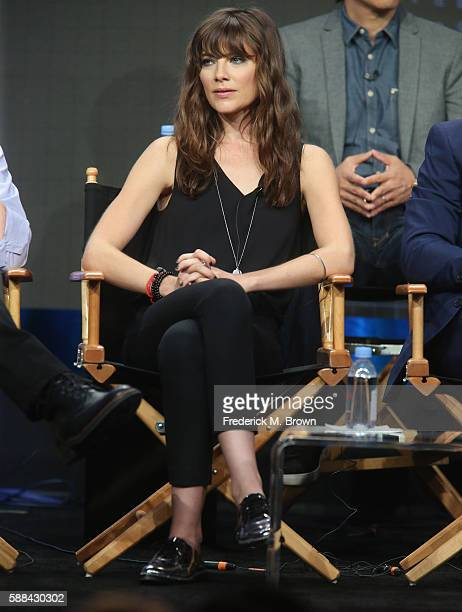Actress Devin Kelley speaks onstage at the 'Frequency' panel discussion during The CW portion of the 2016 Television Critics Association Summer Tour...