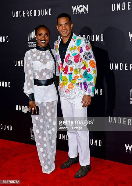 Actress DeWanda Miller and actor Delano Miller arrive for the premiere of Premiere Of WGN America's Underground held at The Theatre At The Ace Hotel...
