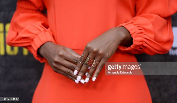 Actress DeWanda Wise ring and manicure detail arrives at Fox's Shots Fired FYC Event at the Saban Media Center on May 10 2017 in North Hollywood...