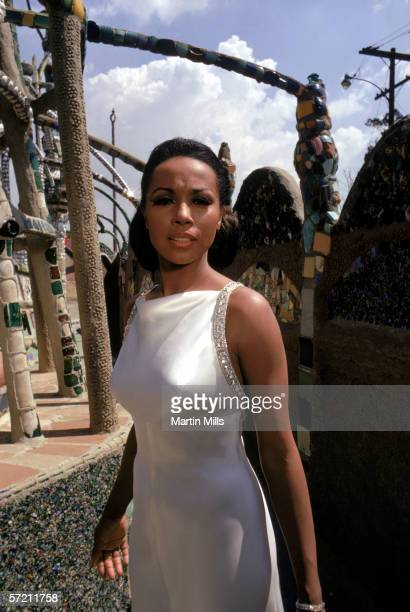 Actress Diahann Carroll poses for a portrait circa late 1960's at the Watts Towers in Los Angeles California