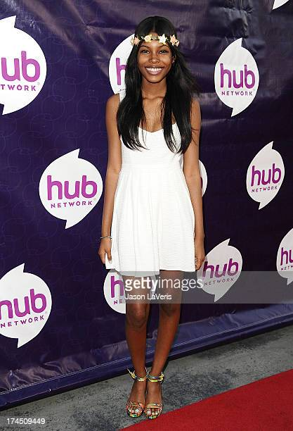 Actress Diamond White attends the Hub Network's 2013 Television Critics Association summer press tour event at The Globe Theatre at Universal Studios...