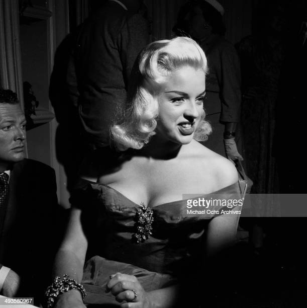 Actress Diana Dors attends her cocktail party in Los Angeles, California.