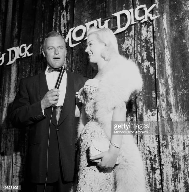 """Actress Diana Dors attends """"Moby Dick"""" premiere party in Los Angeles, California."""