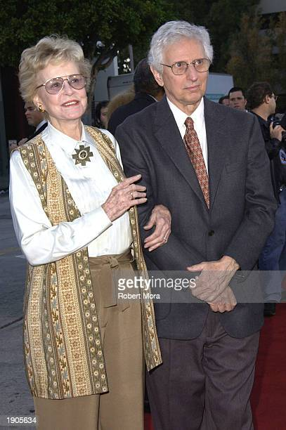 """Actress Diana Douglas and husband, Webster, attend the special screening of MGM's, """"It Runs in the Family"""" at Mann Bruin Theatre April 7, 2003 in..."""