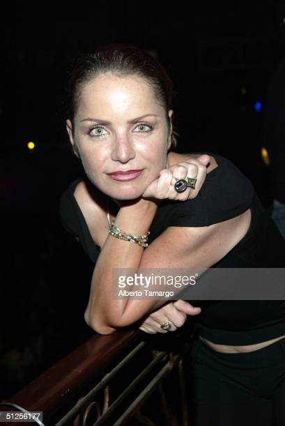 Actress Diana Quijano poses for a photograph at Score Discoteque for the launching of Lucia Mendes's new perfume on August 31 2004 in Miami Florida