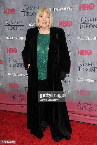 "Actress Diana Rigg attends the ""Game Of Thrones"" Season 4 New York premiere at Avery Fisher Hall, Lincoln Center on March 18, 2014 in New York City."