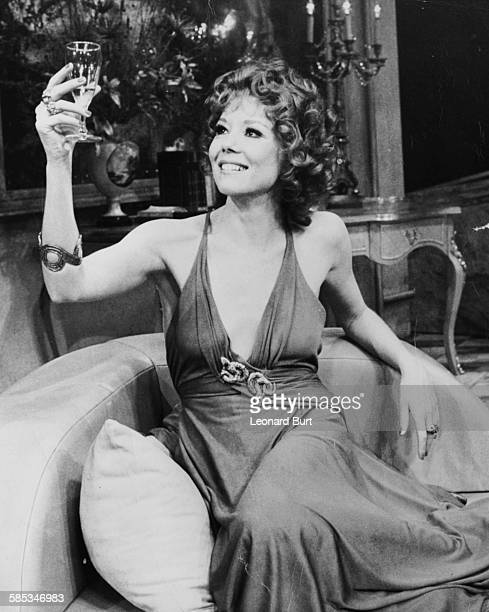 Actress Diana Rigg rehearsing a scene for the play 'The Misanthrope' at the Old Vic Theatre, London, February 19th 1973.