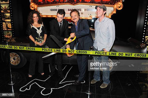 """Actress Diana-Maria Riva, actor Colin Hanks, actor Bradley Whitford and creator/executive producer of """"The Good Guys"""" Matt Nix attend the opening..."""