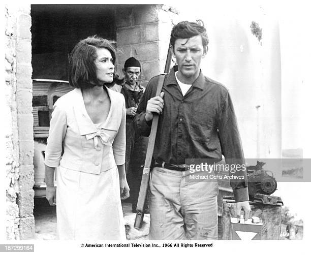 Actress Diane Baker and actor Tom Bell on set of the movie Sands of Beersheba in 1966