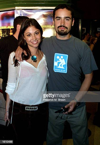 Actress Diane Gaeta and actor Jesse Bradford attend the premiere of the film Speedway Junky August 27 2001 in Los Angeles CA