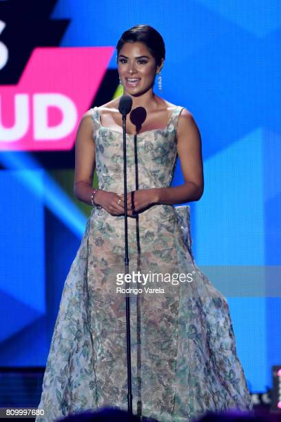 Actress Diane Guerrero speaks on stage at the Univision's 'Premios Juventud' 2017 Celebrates The Hottest Musical Artists And Young Latinos...