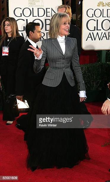 Actress Diane Keaton arrives to the 62nd Annual Golden Globe Awards at the Beverly Hilton Hotel January 16 2005 in Beverly Hills California
