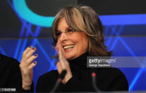 Actress Diane Keaton rings the opening bell at the NASDAQ Times Square on January 16 2007 in New York City