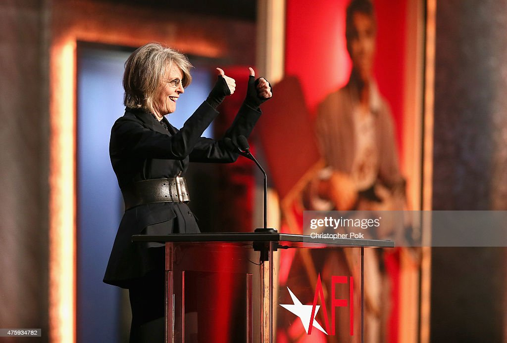 Actress Diane Keaton speaks onstage during the 2015 AFI Life Achievement Award Gala Tribute Honoring Steve Martin at the Dolby Theatre on June 4, 2015 in Hollywood, California. 25292_007