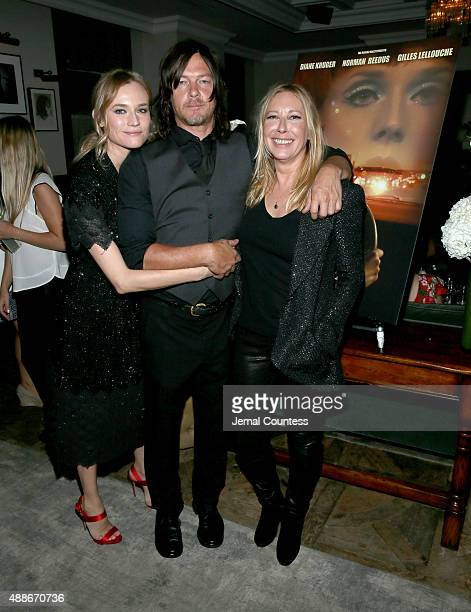 Actress Diane Kruger actor Norman Reedus and writer/director Fabienne Berthaud attend the CHANEL party for 'Sky' during the 2015 Toronto...