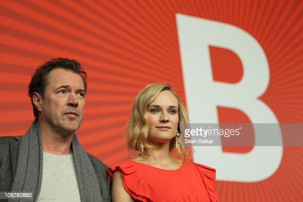 Actress Diane Kruger and actor Sebastian Koch attend the 'Unknown' press conference during day nine of the 61st Berlin International Film Festival at...