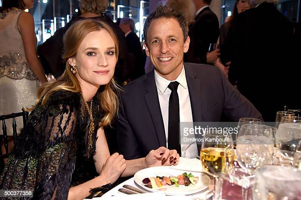 Actress Diane Kruger and comedian Seth Meyers attend an evening honoring Valentino at Lincoln Center Corporate Fund Black Tie Gala on December 7 2015...