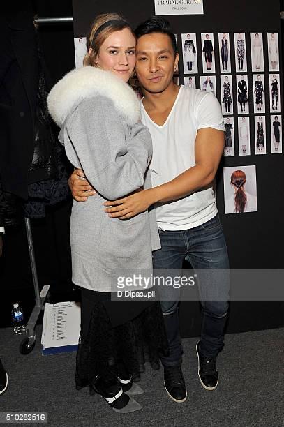Actress Diane Kruger and designer Prabal Gurung pose backstage at the Prabal Gurung Fall 2016 fashion show during New York Fashion Week The Shows at...